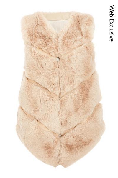 Stone Faux Fur Gilet
